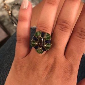 Blue green and maroon ring